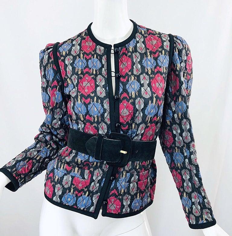 Women's Yves Saint Laurent 1970s Ikat Print Silk Vintage 70s Quilted Lightweight Jacket  For Sale