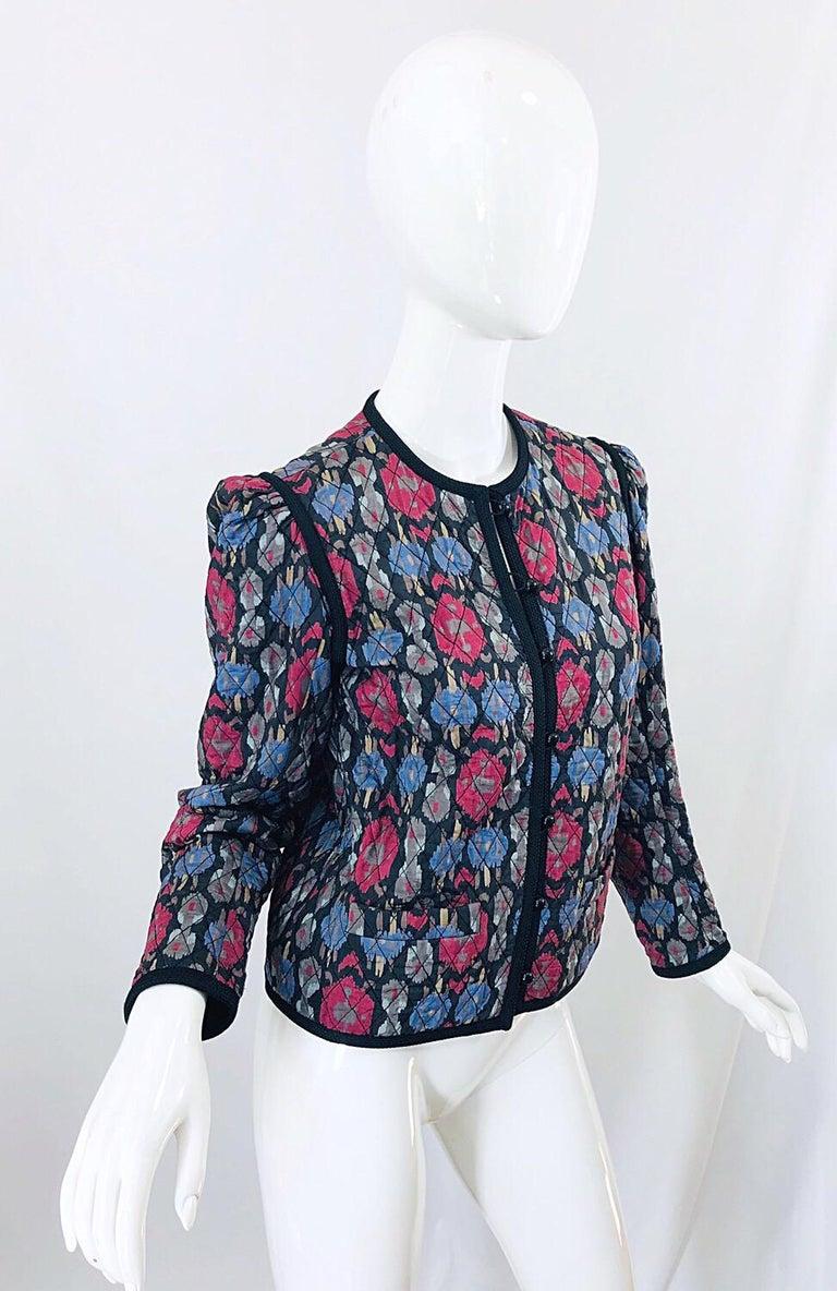 Yves Saint Laurent 1970s Ikat Print Silk Vintage 70s Quilted Lightweight Jacket  For Sale 1