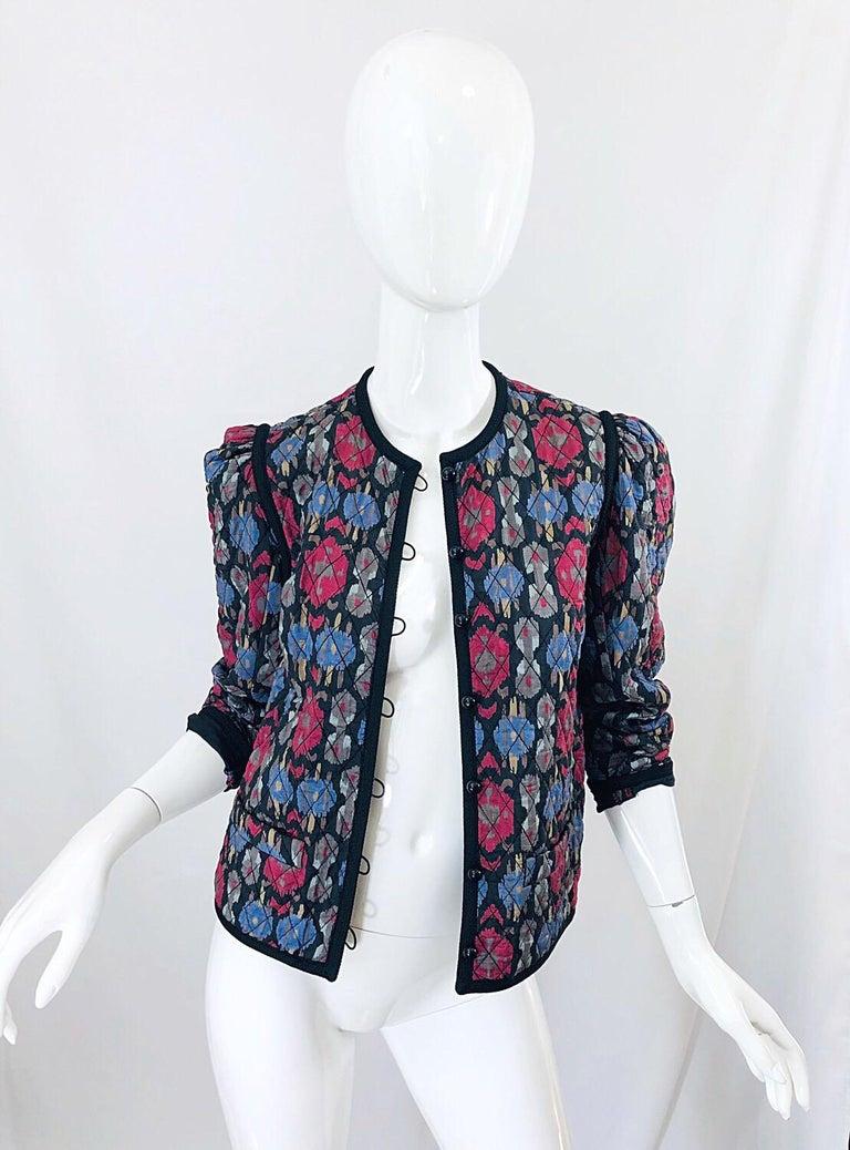 Yves Saint Laurent 1970s Ikat Print Silk Vintage 70s Quilted Lightweight Jacket  For Sale 2