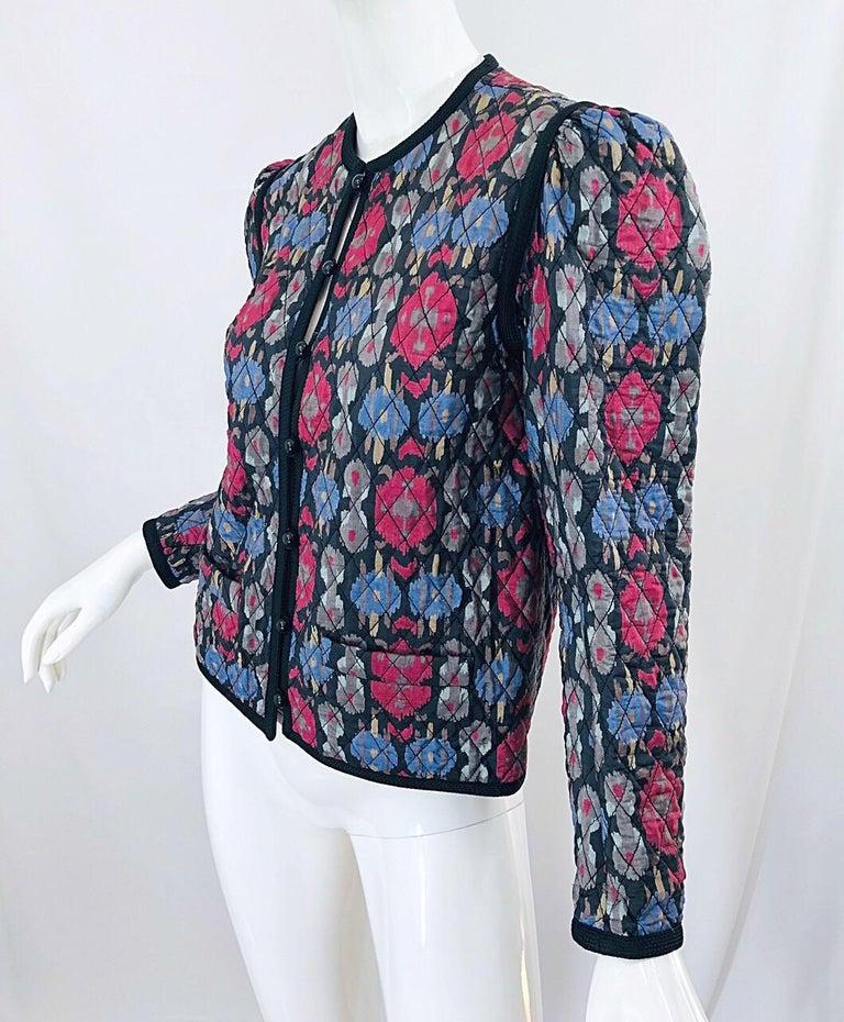 Yves Saint Laurent 1970s Ikat Print Silk Vintage 70s Quilted Lightweight Jacket  For Sale 4