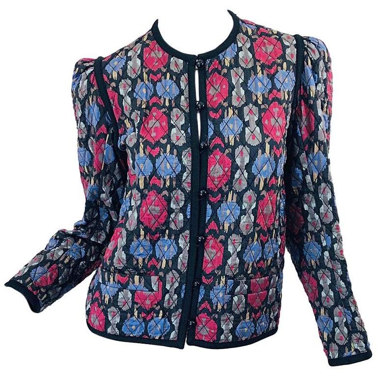 Yves Saint Laurent 1970s Ikat Print Silk Vintage 70s Quilted Lightweight Jacket  For Sale
