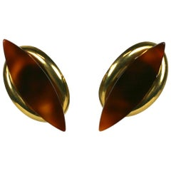 Yves Saint Laurent 1970s Modernist Earclips