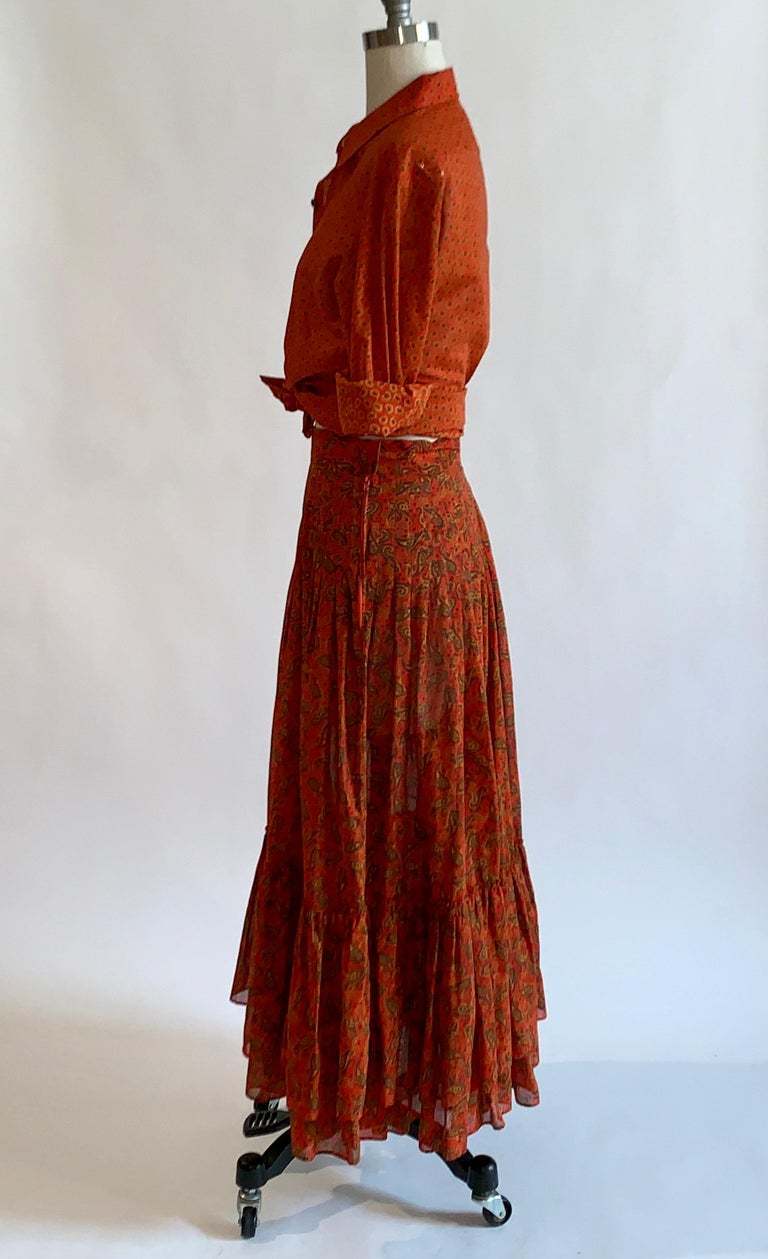 Brown Yves Saint Laurent 1970s Red Orange Paisley Ruffle Prairie Skirt and Top Set For Sale