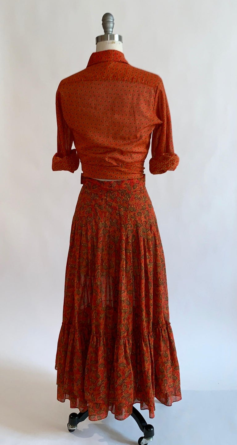 Yves Saint Laurent 1970s Red Orange Paisley Ruffle Prairie Skirt and Top Set In Excellent Condition For Sale In San Francisco, CA