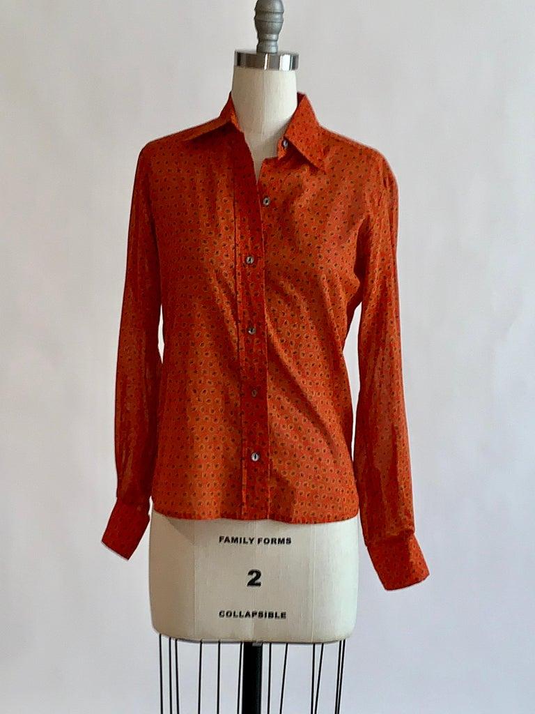 Women's Yves Saint Laurent 1970s Red Orange Paisley Ruffle Prairie Skirt and Top Set For Sale