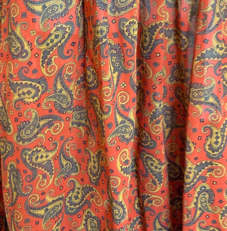 Yves Saint Laurent 1970s Red Orange Paisley Ruffle Prairie Skirt and Top Set For Sale 2