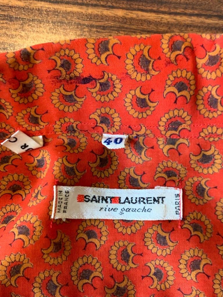 Yves Saint Laurent 1970s Red Orange Paisley Ruffle Prairie Skirt and Top Set For Sale 3