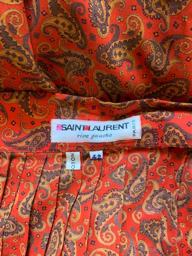 Yves Saint Laurent 1970s Red Orange Paisley Ruffle Prairie Skirt and Top Set For Sale 4