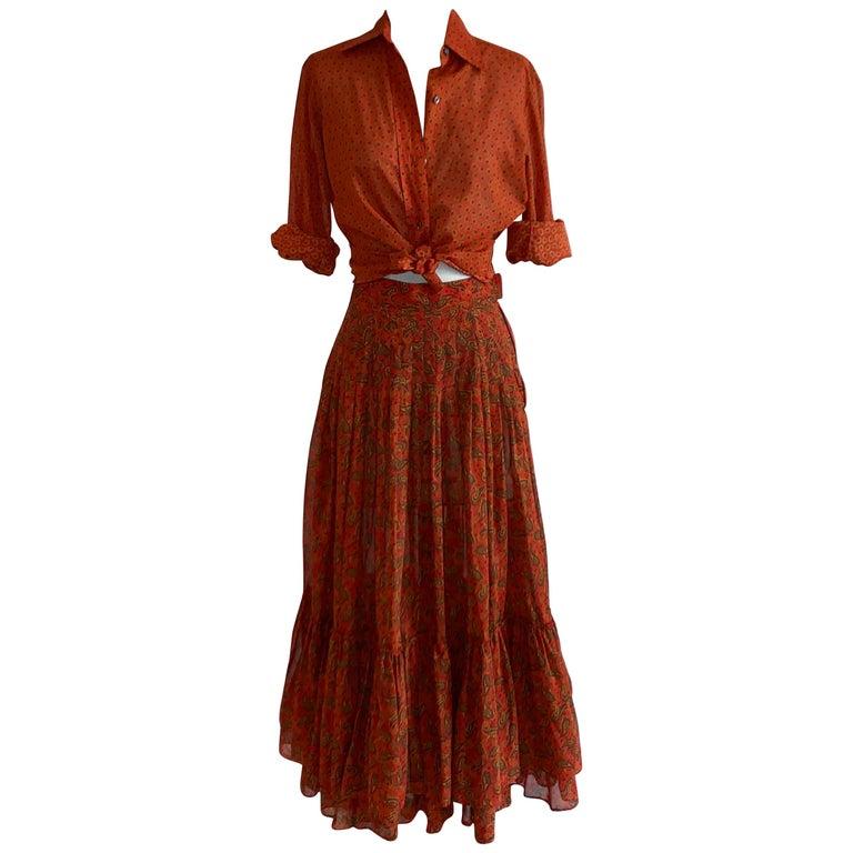 Yves Saint Laurent 1970s Red Orange Paisley Ruffle Prairie Skirt and Top Set For Sale