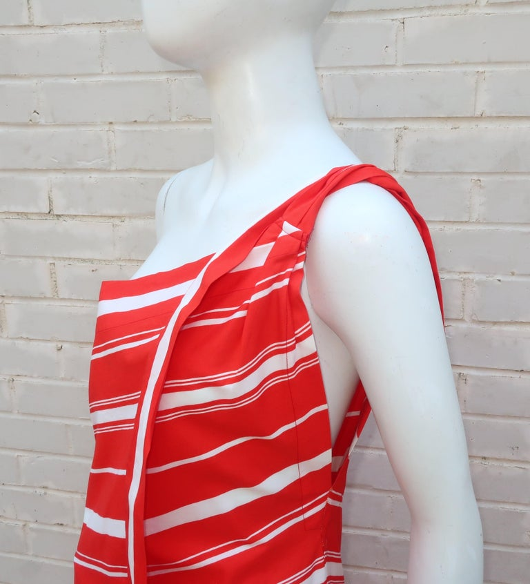 Yves Saint Laurent 1970's Red & White Candy Stripe Dress For Sale 6