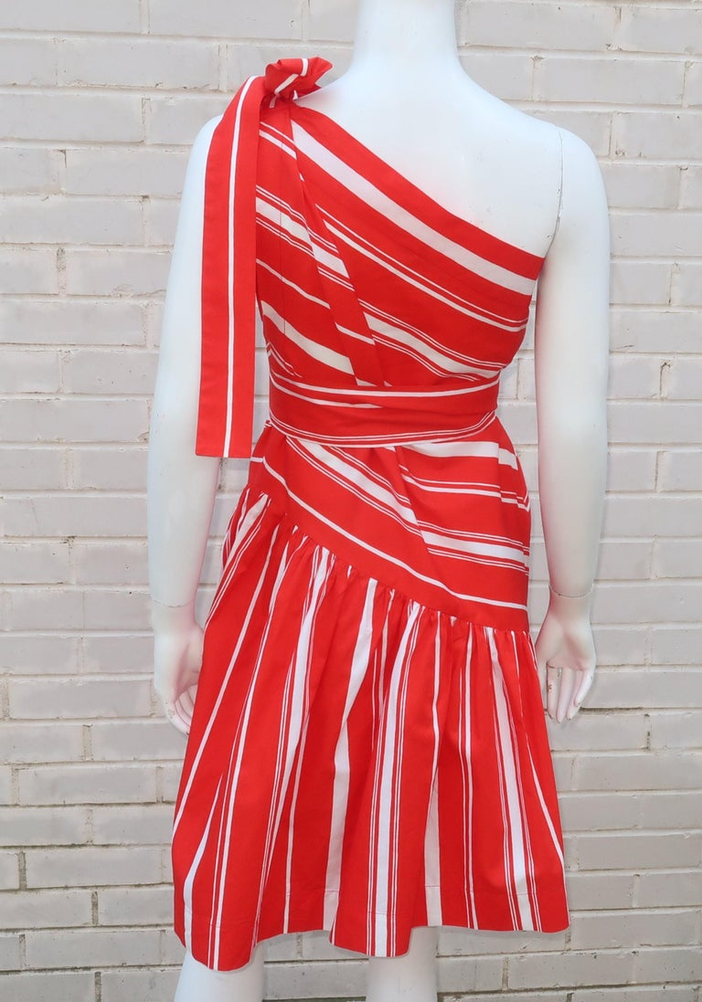 Yves Saint Laurent 1970's Red & White Candy Stripe Dress For Sale 7