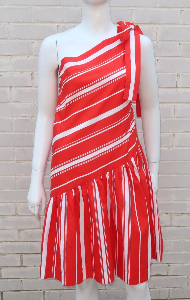 Yves Saint Laurent 1970's Red & White Candy Stripe Dress For Sale 8
