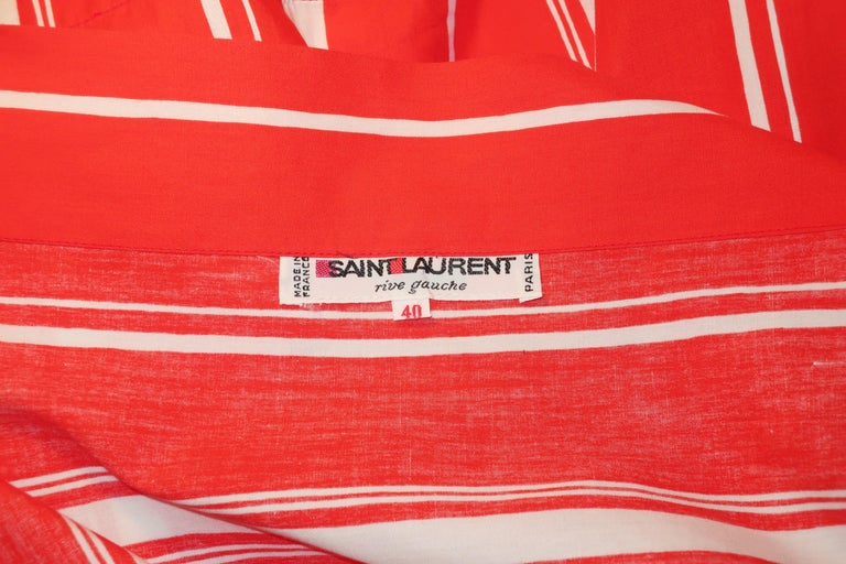 Yves Saint Laurent 1970's Red & White Candy Stripe Dress For Sale 9