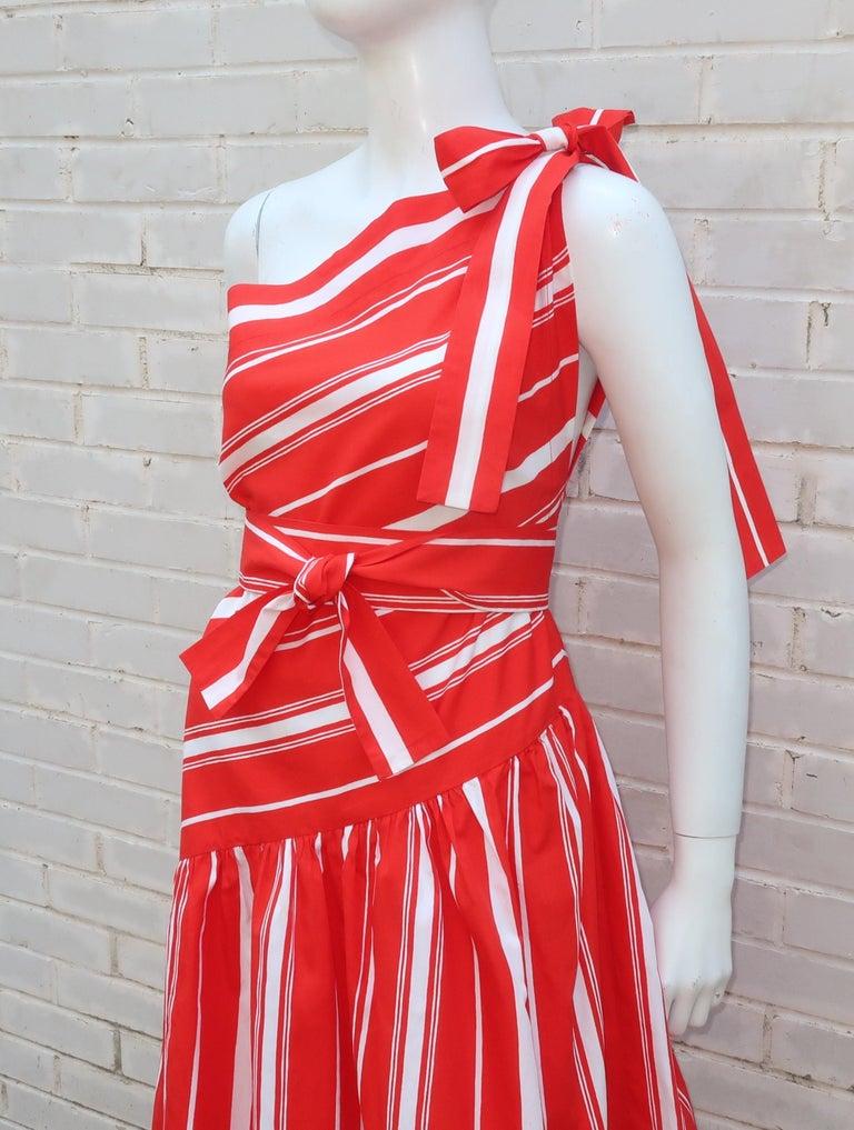 Women's Yves Saint Laurent 1970's Red & White Candy Stripe Dress For Sale