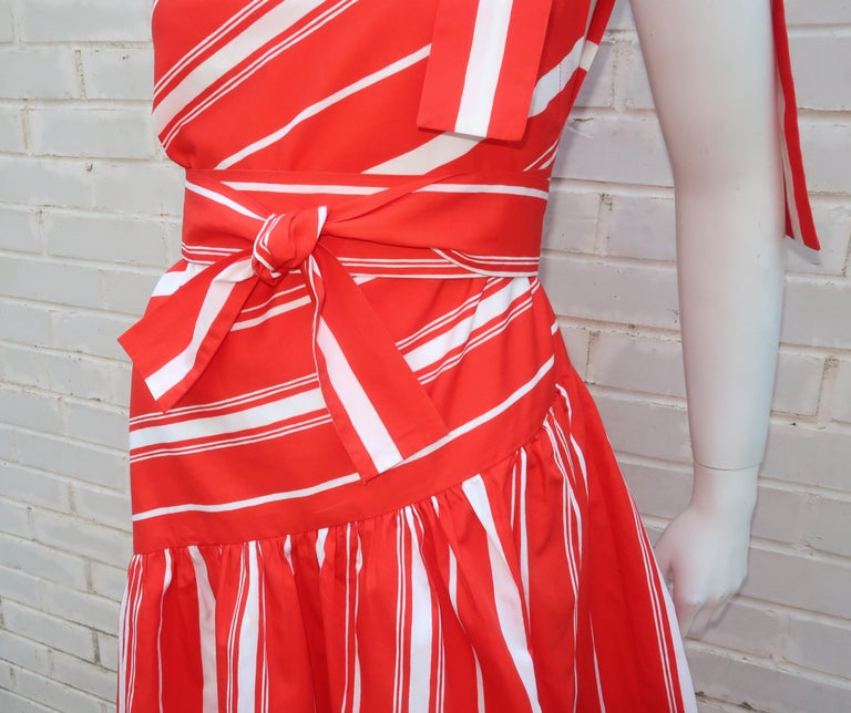 Yves Saint Laurent 1970's Red & White Candy Stripe Dress For Sale 1