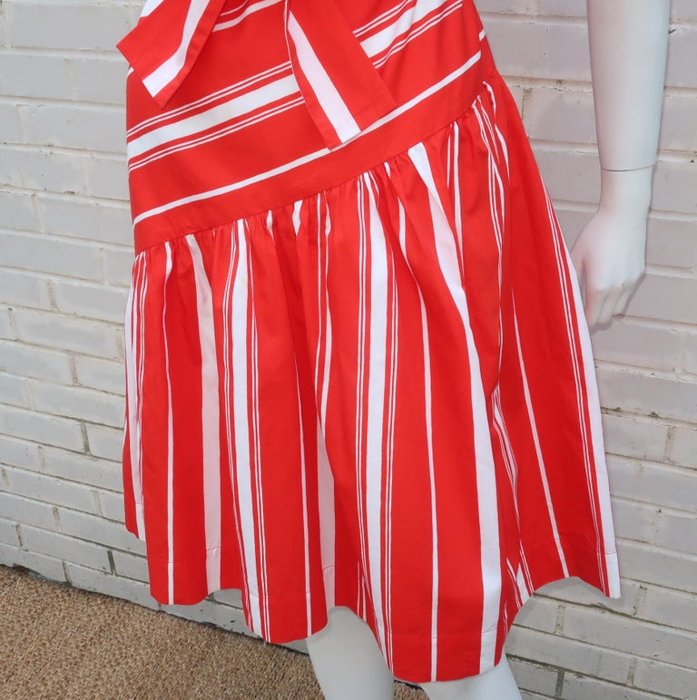 Yves Saint Laurent 1970's Red & White Candy Stripe Dress For Sale 2