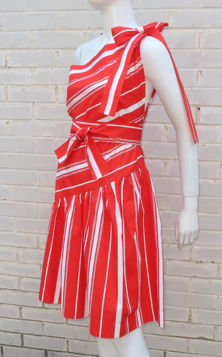Yves Saint Laurent 1970's Red & White Candy Stripe Dress For Sale 3