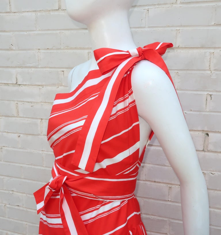 Yves Saint Laurent 1970's Red & White Candy Stripe Dress For Sale 4