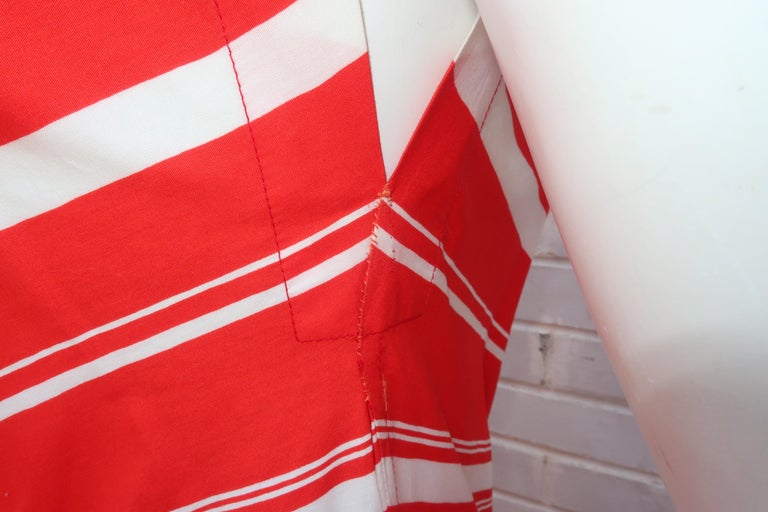Yves Saint Laurent 1970's Red & White Candy Stripe Dress For Sale 5
