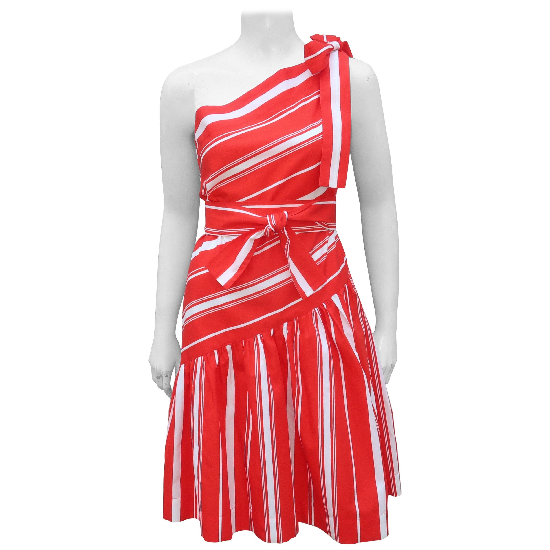 Yves Saint Laurent 1970's Red & White Candy Stripe Dress