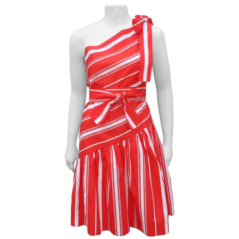 Yves Saint Laurent 1970's Red & White Candy Stripe Dress For Sale