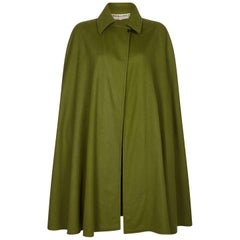 Yves Saint Laurent 1976-79 Russian Collection Moss Green Wool Cape