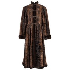 YVES SAINT LAURENT 1976 Russian Collection Brown Broadtail Fur & Mink Trim Coat