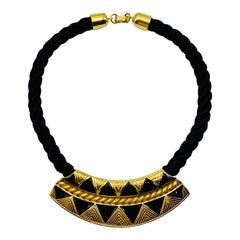 Yves Saint Laurent 1980s Art Deco Revival Gold & Black Enamel Cord Necklace