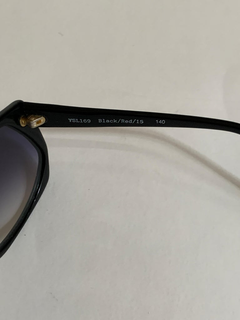 Yves Saint Laurent 1980s Black and Red Vintage Sunglasses YSL Logo Museum Piece For Sale 6