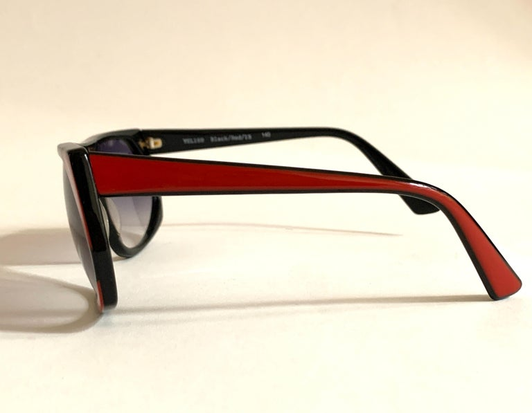 Yves Saint Laurent 1980s Black and Red Vintage Sunglasses YSL Logo Museum Piece For Sale 3