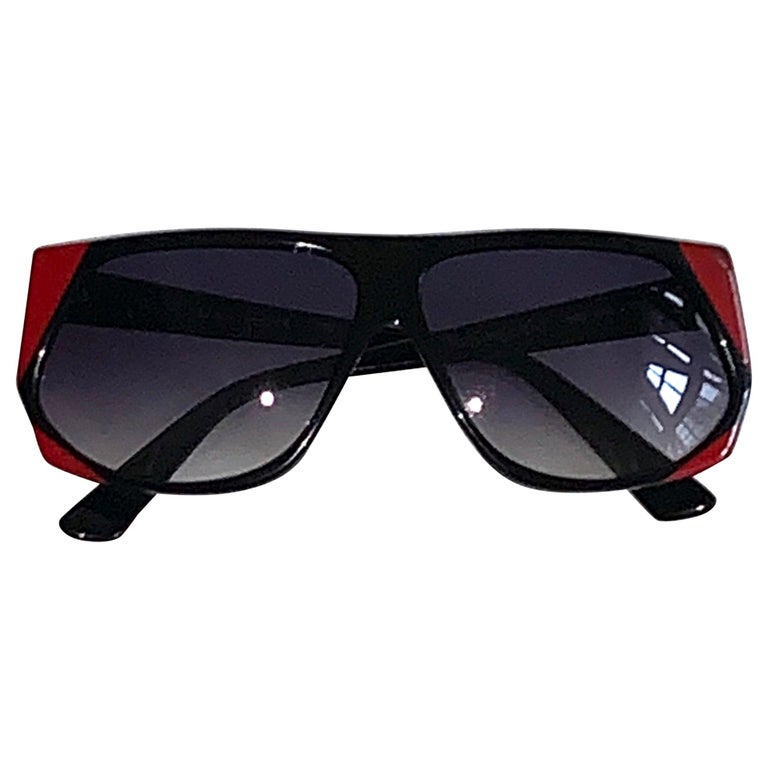 Yves Saint Laurent 1980s Black and Red Vintage Sunglasses YSL Logo Museum Piece For Sale