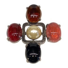 Yves Saint Laurent 1980s Brooch with Pearl & Glass Cabochons