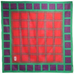 Yves Saint Laurent 1980's Color Block Cotton Scarf