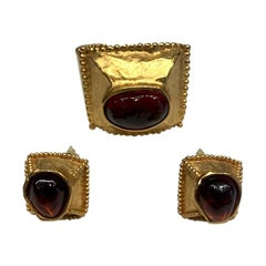 Yves Saint Laurent 1980s Cuff Bracelet and Earrings