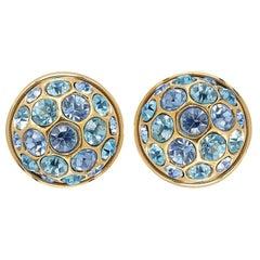 Yves Saint Laurent 1980s Gold Earrings With Blue Crystal Rhinestones