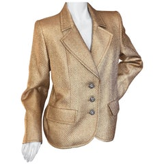 Yves Saint Laurent 1980's Gold Jacquard Jacket with Crystal Buttons