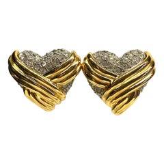 Yves Saint Laurent 1980s Large Heart Earrings