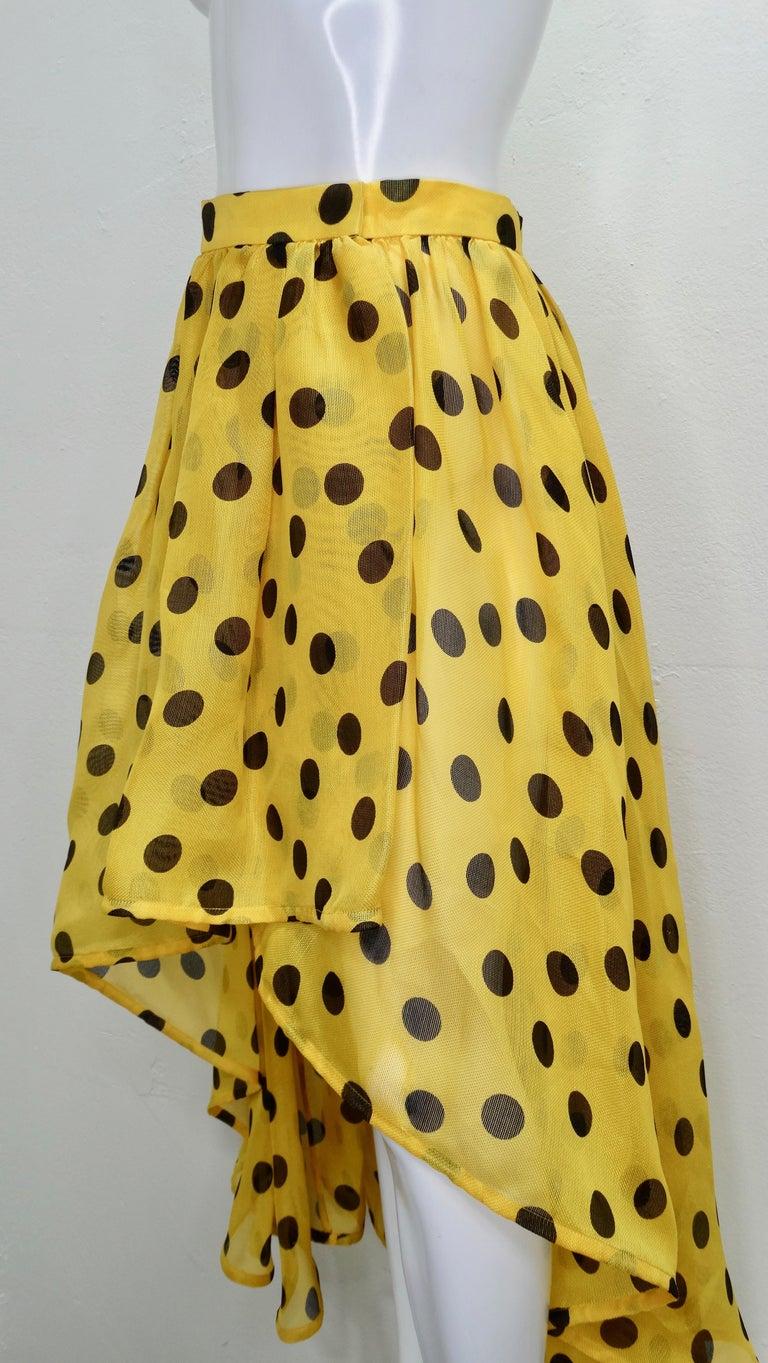 Yves Saint Laurent 1980s Polka Dot High Waisted Skirt  For Sale 5