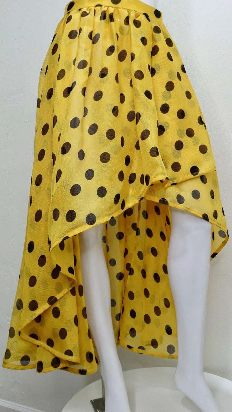 Yellow Yves Saint Laurent 1980s Polka Dot High Waisted Skirt  For Sale