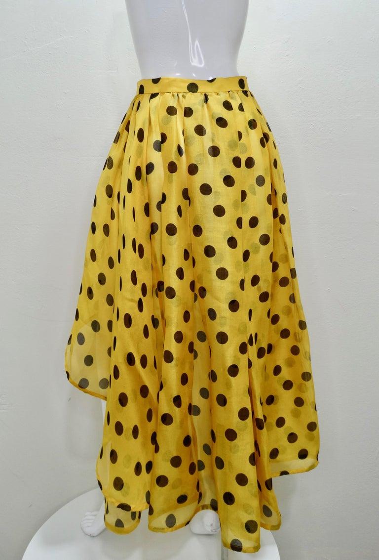 Women's or Men's Yves Saint Laurent 1980s Polka Dot High Waisted Skirt  For Sale