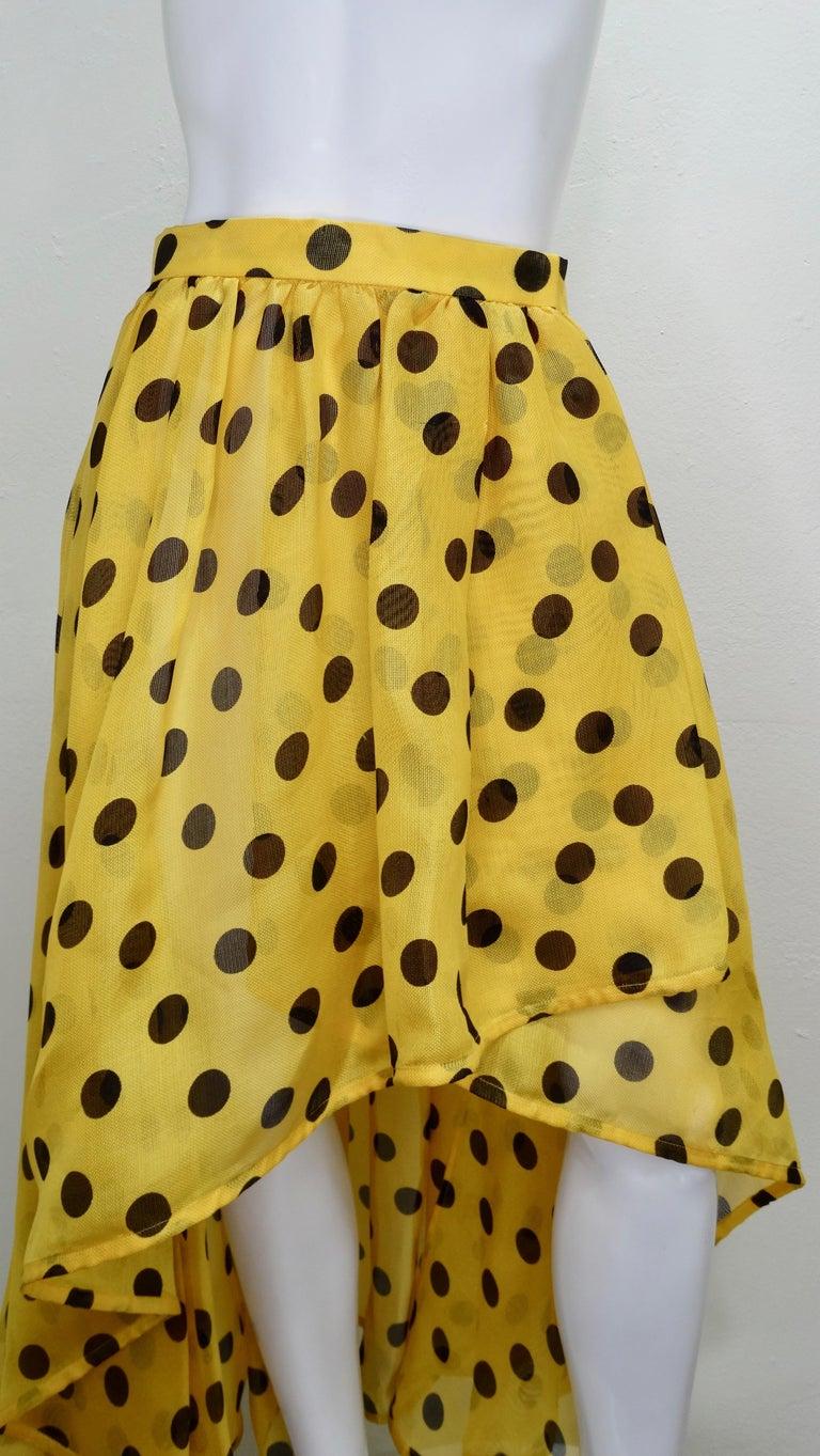 Yves Saint Laurent 1980s Polka Dot High Waisted Skirt  For Sale 1