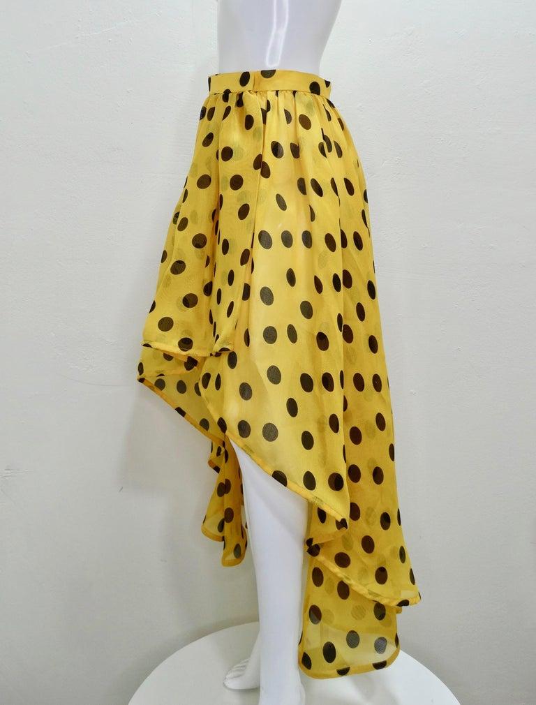 Yves Saint Laurent 1980s Polka Dot High Waisted Skirt  For Sale 2