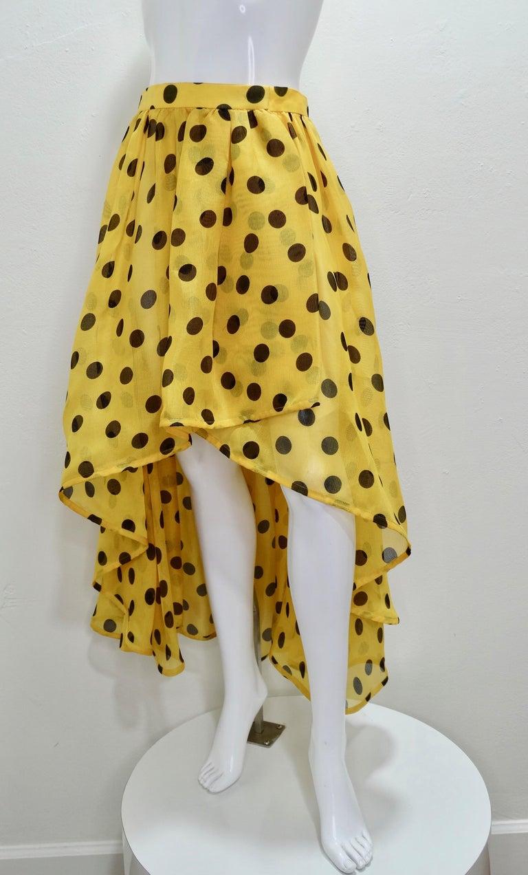 Yves Saint Laurent 1980s Polka Dot High Waisted Skirt  For Sale 3