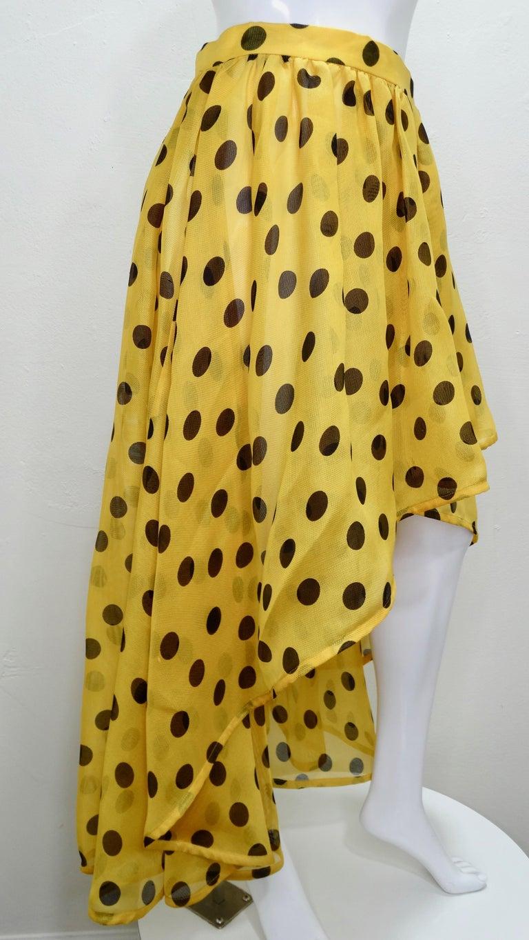 Yves Saint Laurent 1980s Polka Dot High Waisted Skirt  For Sale 4