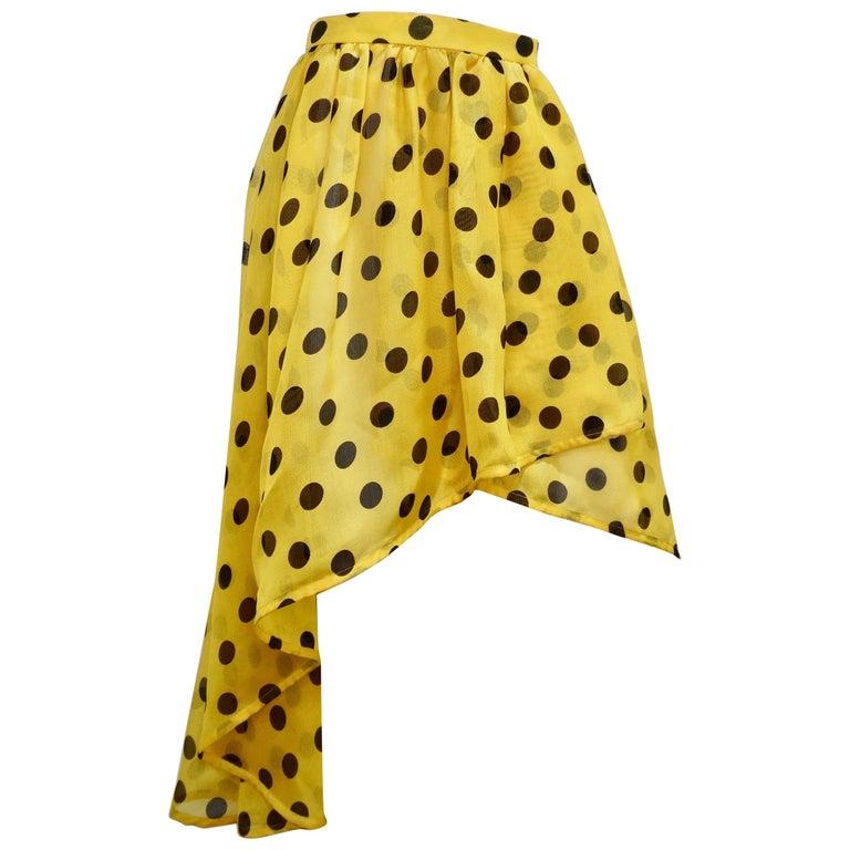 Yves Saint Laurent 1980s Polka Dot High Waisted Skirt  For Sale