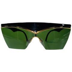 Yves Saint Laurent 1980's Rare Black & Gold Dead Stock Sunglasses
