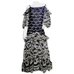 Yves Saint Laurent 1980s Ruffled Organza Dress