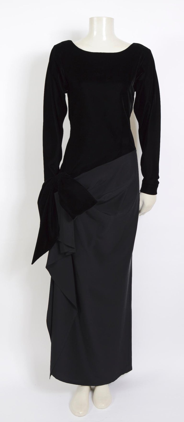 An amazing and rare vintage women's long sleeve velvet and silk evening dress from the 80s by Yves Saint Laurent for the iconic