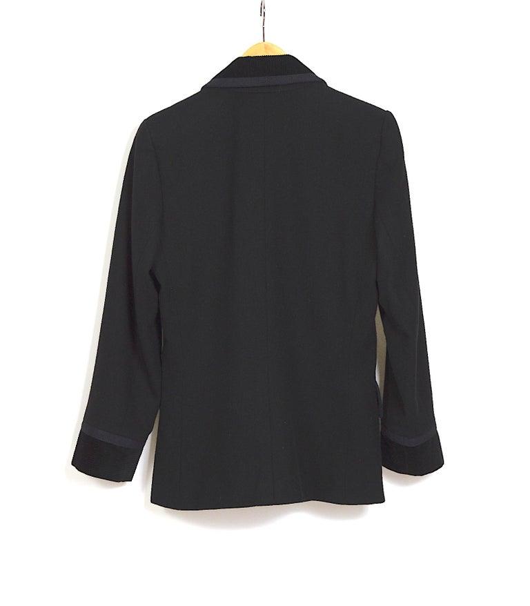 Yves Saint Laurent 1980s vintage black wool and velvet jacket For Sale 2