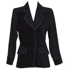 Yves Saint Laurent 1980s vintage black wool and velvet jacket